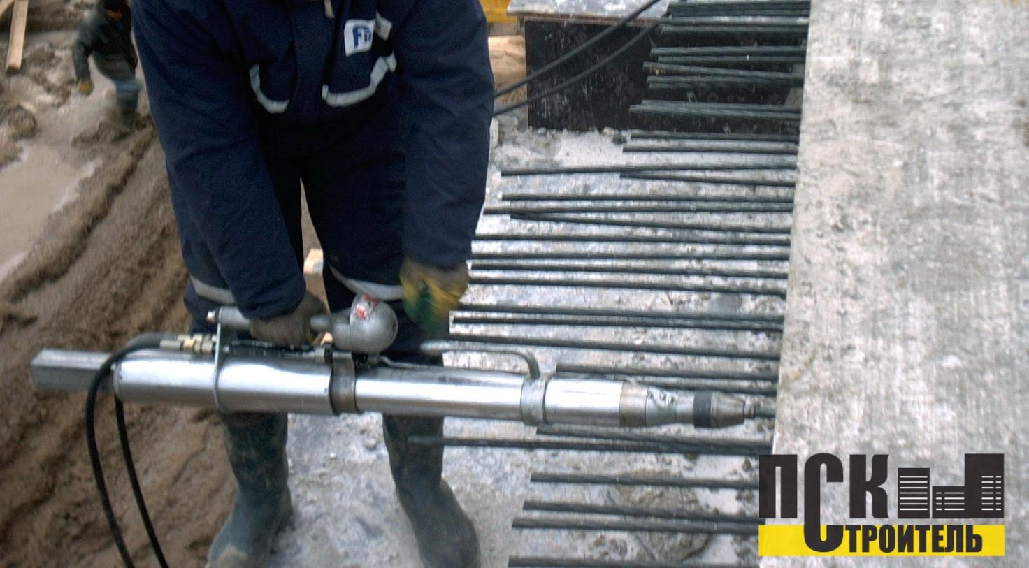 электротермическое преднапряжение канатов в балке
